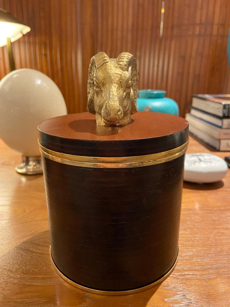 20th Century Lidded Leather Box by Gucci, Italy, 1970s For Sale