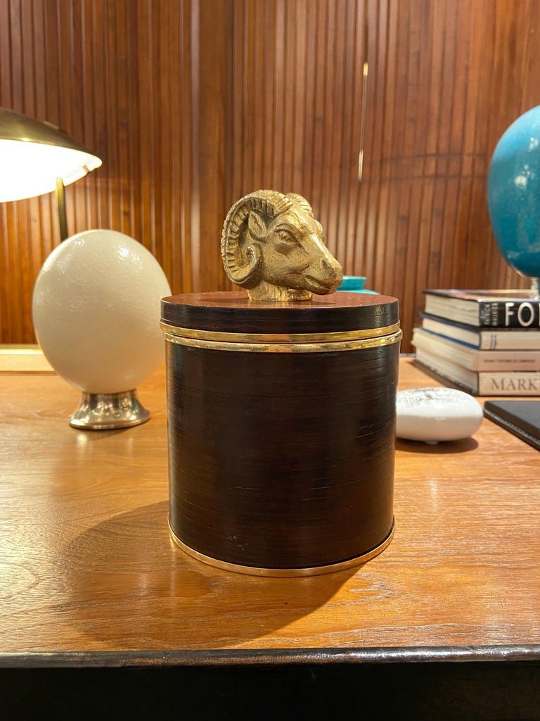 Lidded Leather Box by Gucci, Italy, 1970s For Sale 2
