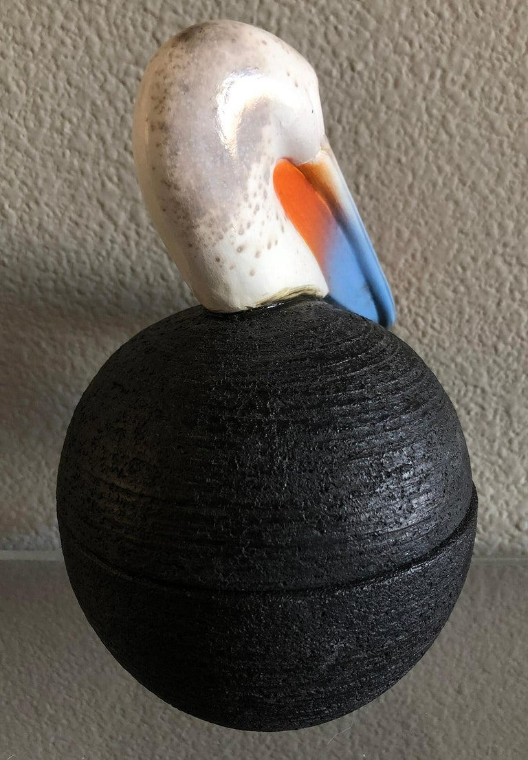 Hand-Crafted Lidded Pelican Pottery Jar or Vessel by George Pontikis, Aspropyrgos, GR