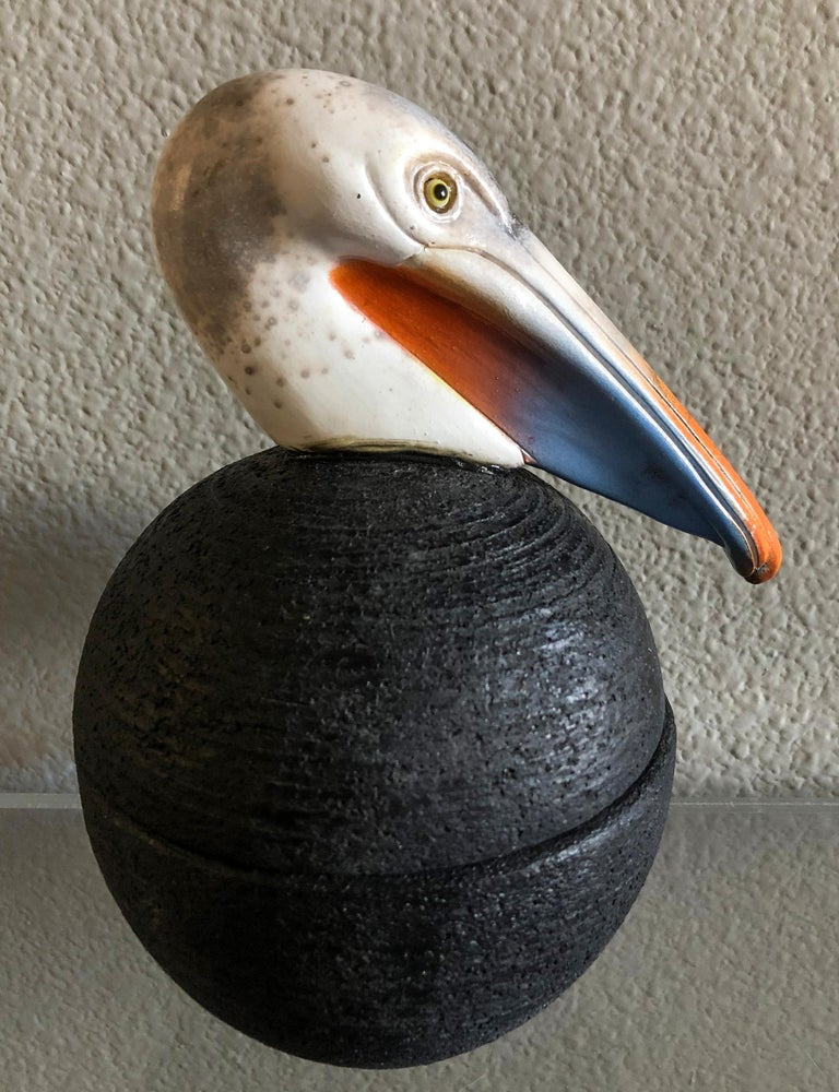 Clay Lidded Pelican Pottery Jar or Vessel by George Pontikis, Aspropyrgos, GR