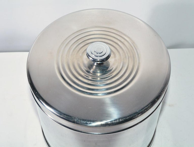 Mid-Century Modern Lidded Stainless Steel Ice Bucket For Sale