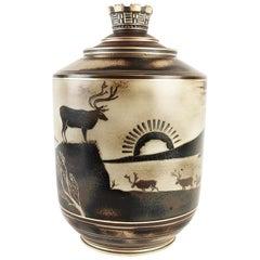 Lidern Einzigartige Urne Flambieren Entworfen von Gunnar Nylund für Rörstrand, Schweden