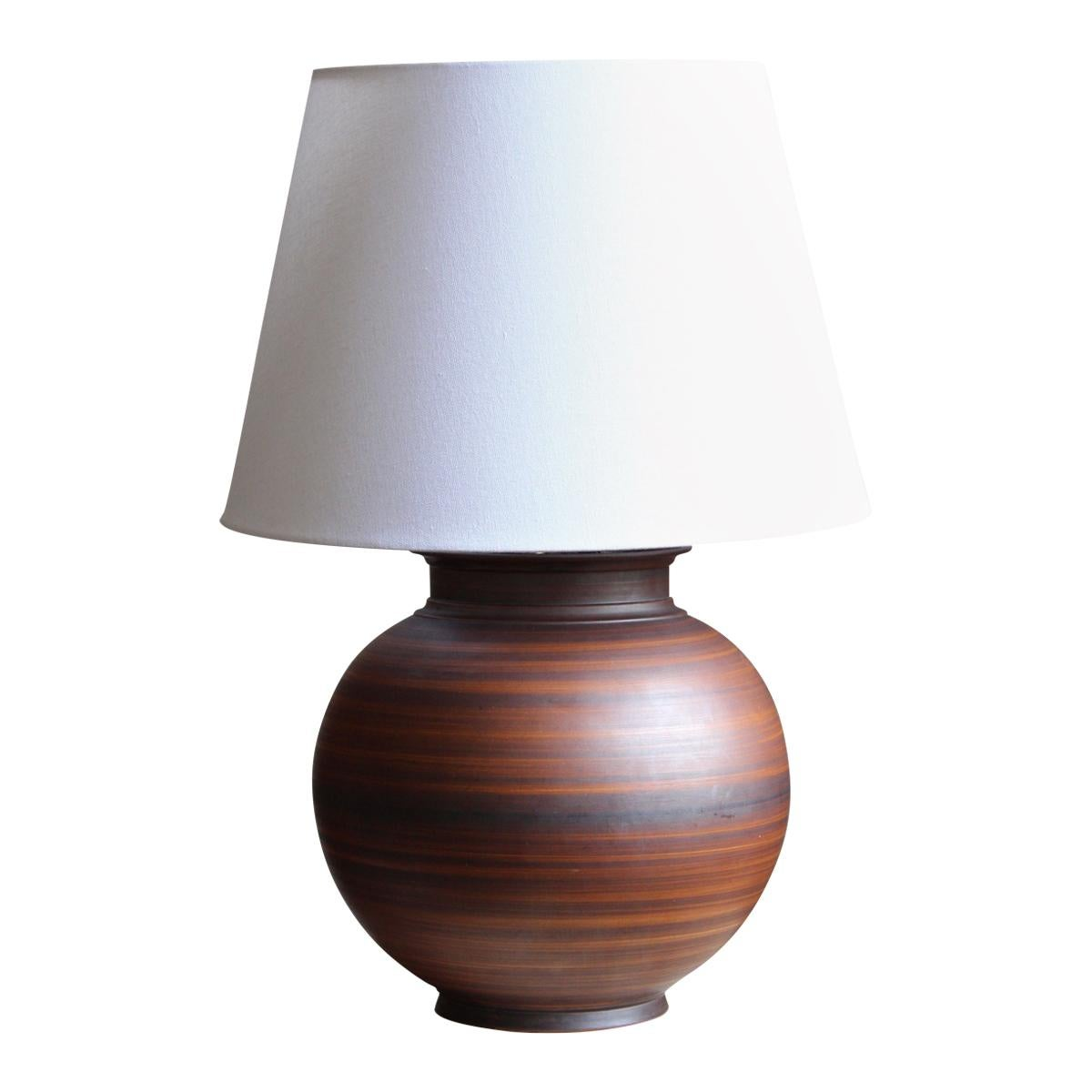 Lidköpings Porslinsfabrik Large Table Lamp Hand-Painted Earthenware Sweden 1940s