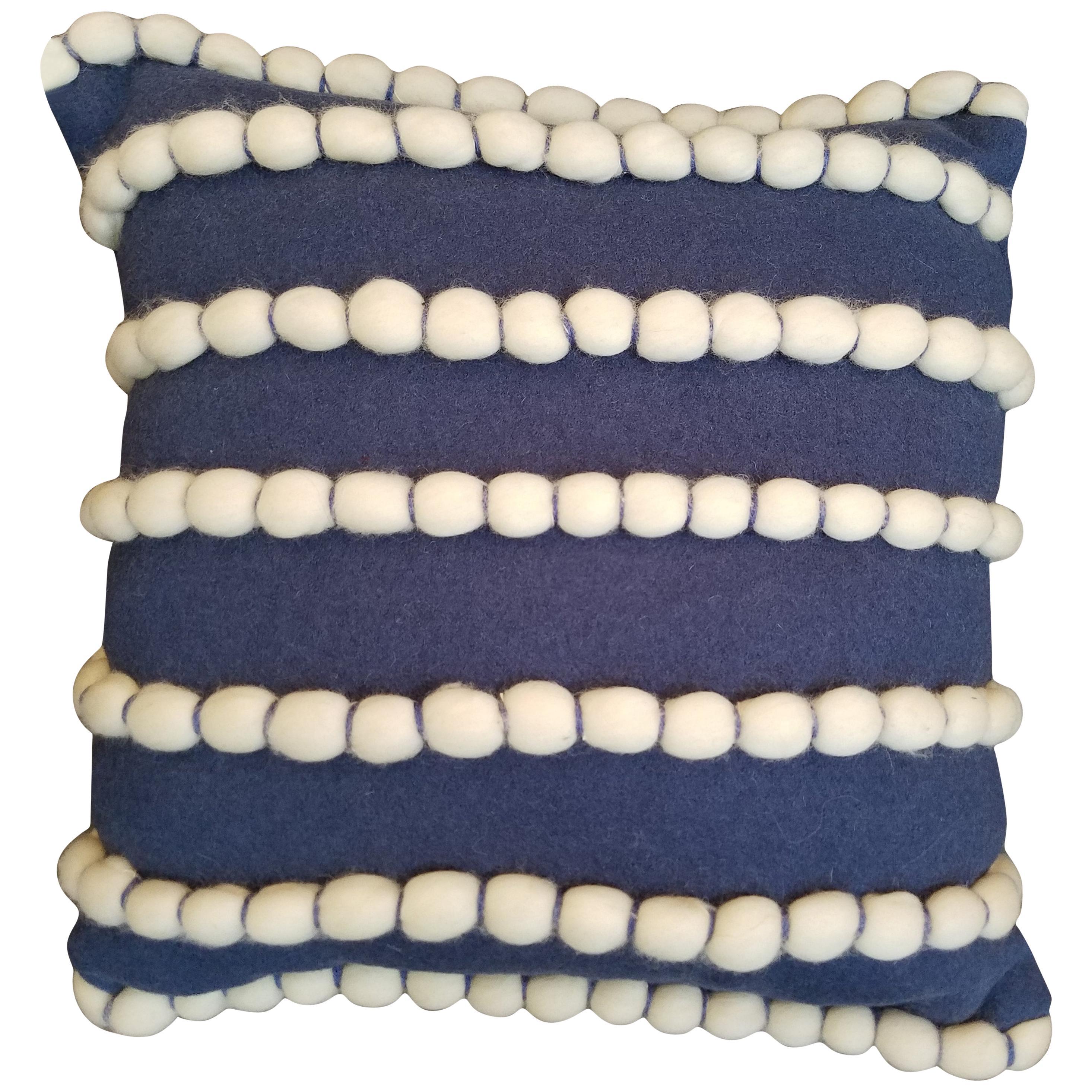 """Lido"" Blue Merino Wool Pillow by Le Lampade"