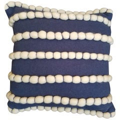 """Lido"" Blue Merino Wool Pillow by Le Lampade"