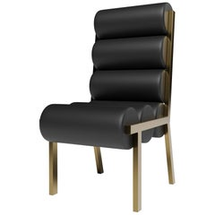 LIDO DINING CHAIR HIGH BACK - Modern Design in Leather with Metallic Legs