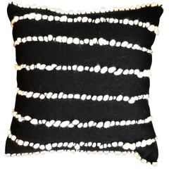 """Lido II"" Black Merino Wool Pillow by Le Lampade"