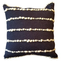 """Lido II"" Navy Blue Merino Wool Pillow by Le Lampade"