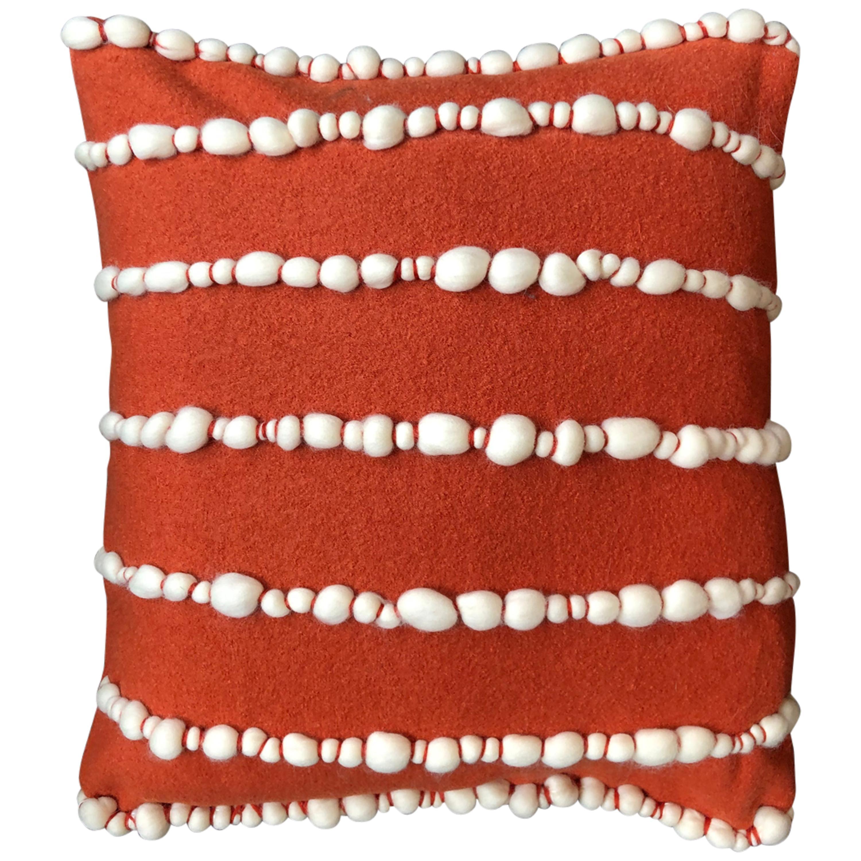 """Lido II"" Orange Merino Wool Pillow by Le Lampade"