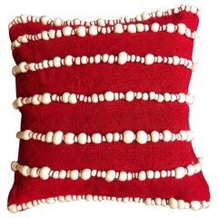 """Lido II"" Red Merino Wool Pillow by Le Lampade"
