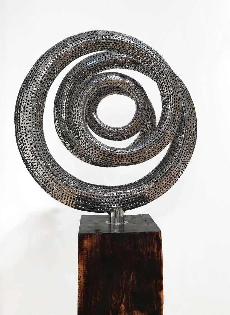 Stainless steel sculpture with wooden base.  Liechennay's works are inspired by nature and life, simply put, the forms and shapes he is surrounded by. He creates highly aesthetic pieces embodying artistic balance and beauty that transmit a sense of