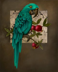 Parrot and Pomegranate, 2020. Oil on canvas, 100 x 80 cm