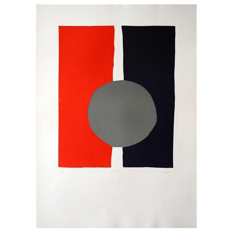 """Lifar 6"" Original Bauhaus Artist Linocut Print, Signed Werner Graeff For Sale"