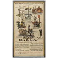 Life in the U.S. Navy Military Recruitment Poster, circa 1917