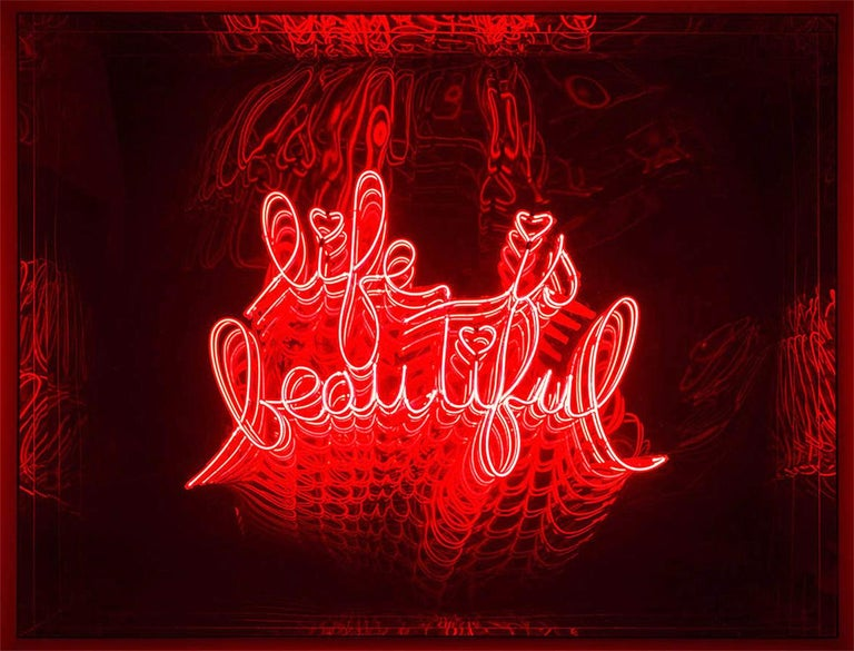 Wall decoration mirror life is beautiful infinymade with mirrored led lights with glass and plexiglass creating an infiny mirrored effect. With neon lighted