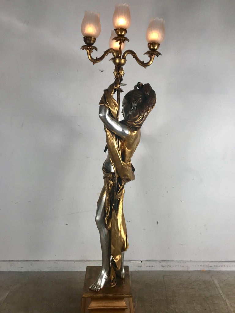 American Life-Like Figural Woman Torchere Floor Lamp, Gold and Silver Leaf by ARP For Sale