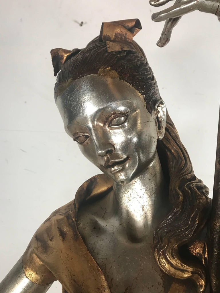Life-Like Figural Woman Torchere Floor Lamp, Gold and Silver Leaf by ARP In Good Condition For Sale In Buffalo, NY
