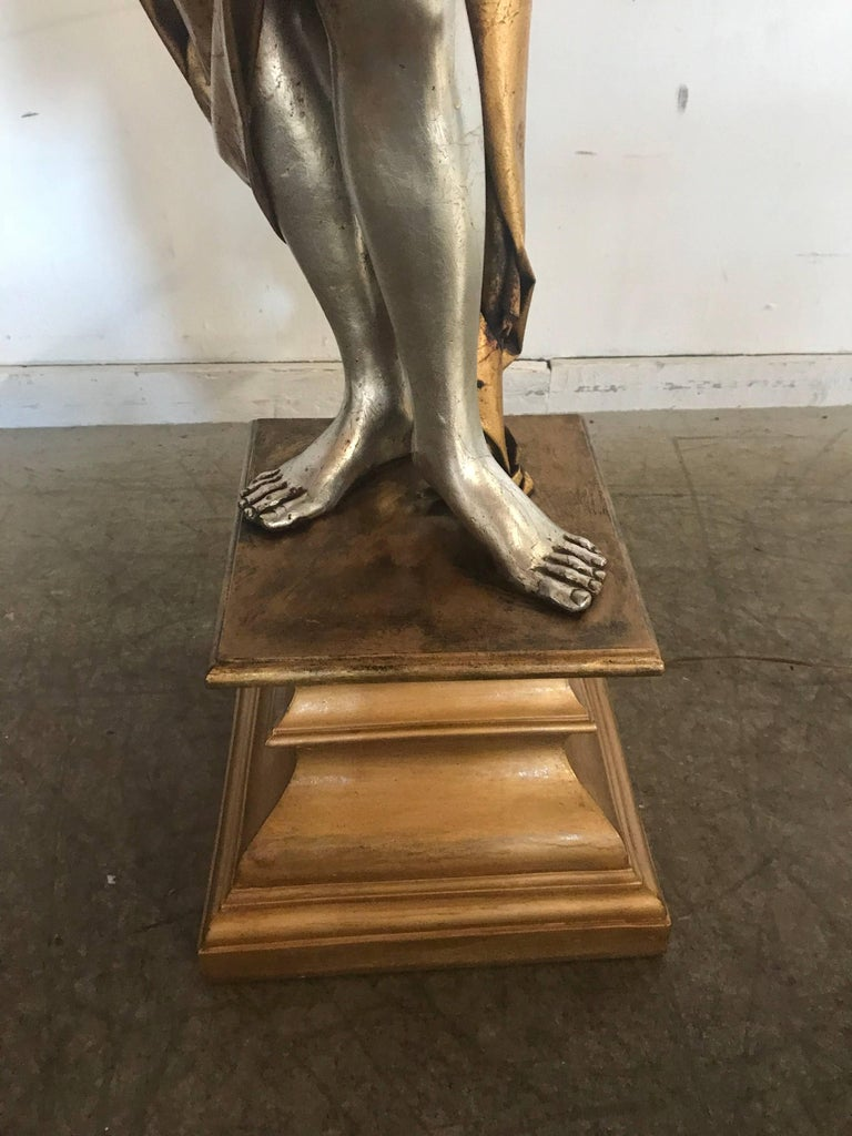 20th Century Life-Like Figural Woman Torchere Floor Lamp, Gold and Silver Leaf by ARP For Sale