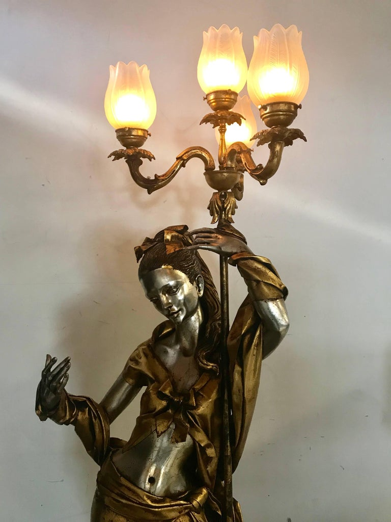 Life-Like Figural Woman Torchere Floor Lamp, Gold and Silver Leaf by ARP For Sale 1