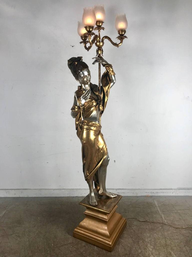 Life-Like Figural Woman Torchere Floor Lamp, Gold and Silver Leaf by ARP For Sale 2