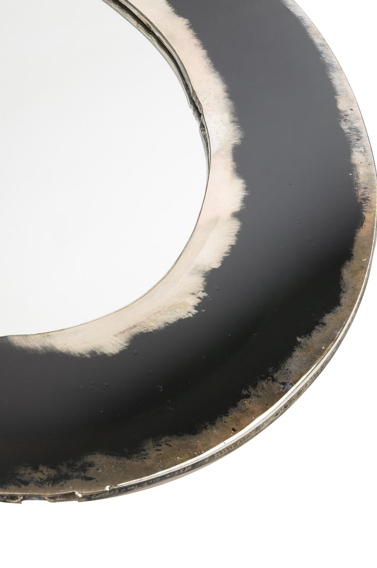 Modern Life Mirror, Art Glass Silvered on Black Mirror, Birch Wood Handmade, Tuscany For Sale