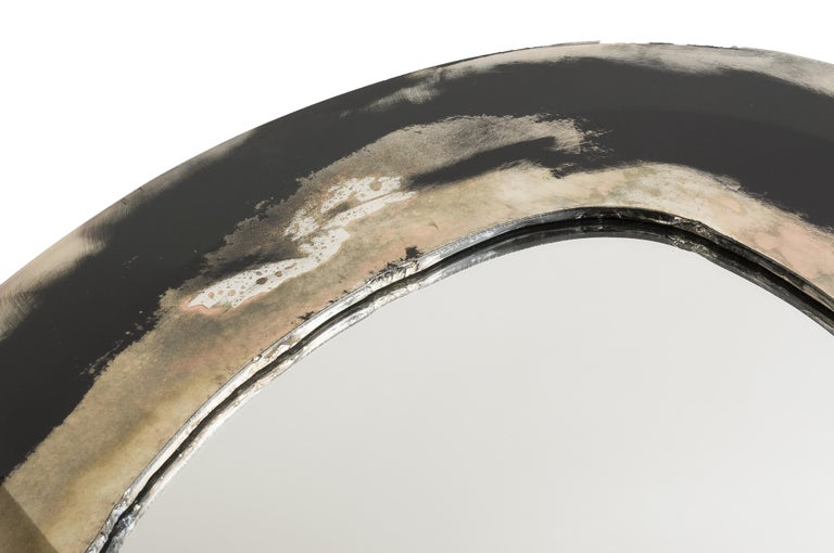 Life Mirror, Art Glass Silvered on Black Mirror, Birch Wood Handmade, Tuscany For Sale 1