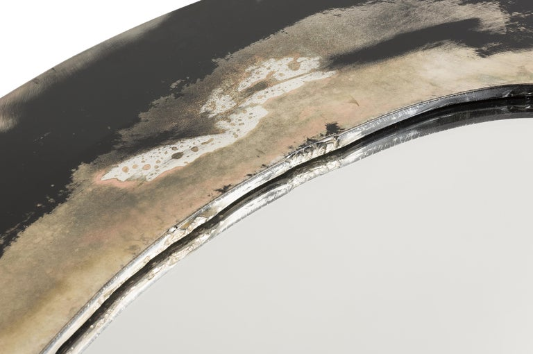 Life Mirror, Art Glass Silvered on Black Mirror, Birch Wood Handmade, Tuscany For Sale 2