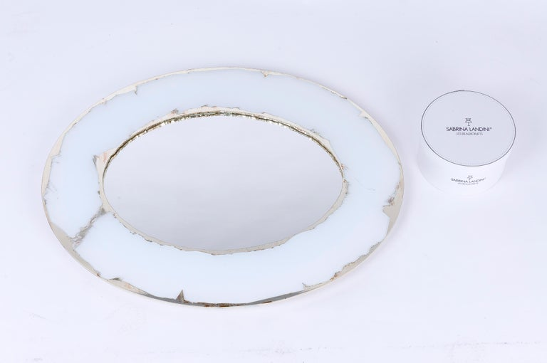 Life Mirror, Art Glass Silvered on White, Mirror, Birch Wood Handmade, Tuscany For Sale 2