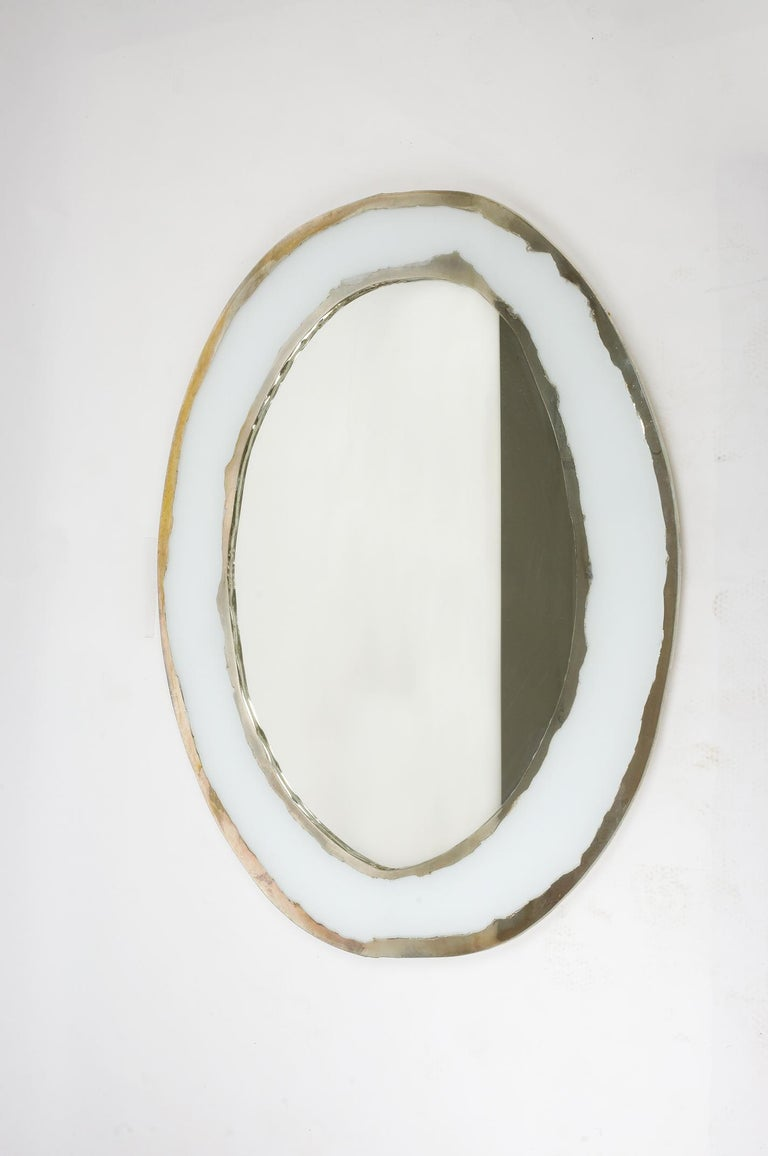LIFE Mirror, Art Glass Silvered, Opale White and Mirror, Birch Wood Handmade For Sale 4