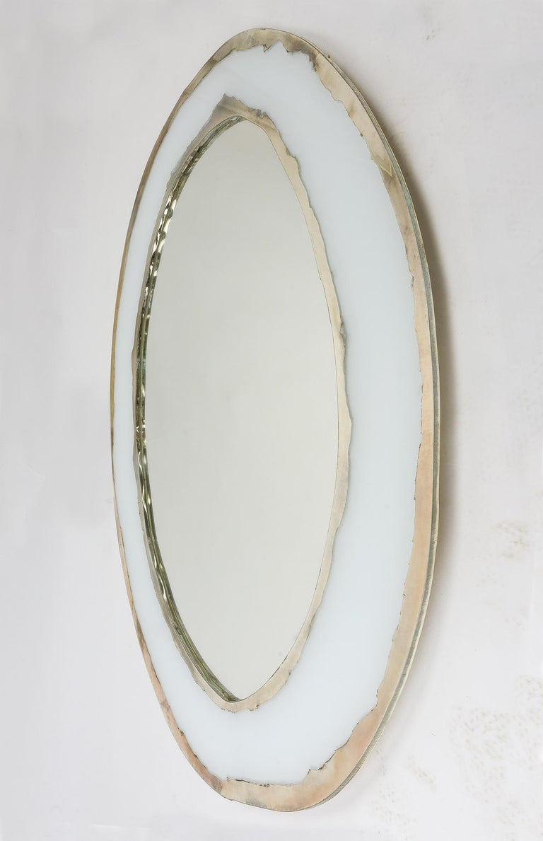 LIFE Mirror, Art Glass Silvered, Opale White and Mirror, Birch Wood Handmade For Sale 5