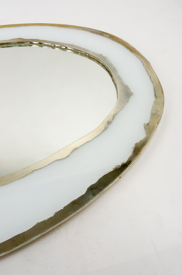 LIFE Mirror, Art Glass Silvered, Opale White and Mirror, Birch Wood Handmade For Sale 8