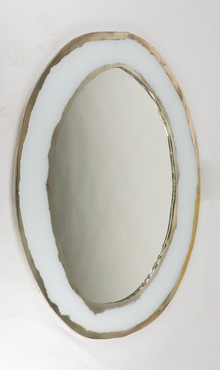 LIFE Mirror, Art Glass Silvered, Opale White and Mirror, Birch Wood Handmade For Sale 3
