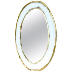 Life Mirror, Art Glass Silvered, Silvered Frame White Glass, Mirror