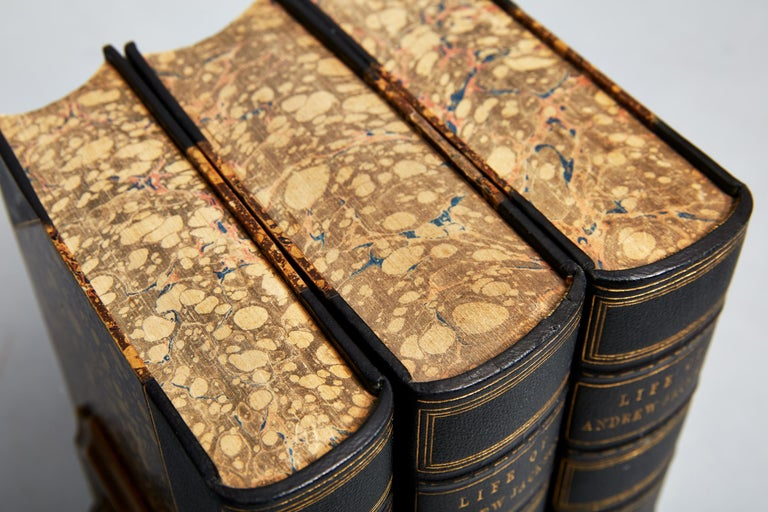 James Parton  3 volumes  Bound in 3/4 green morocco, marbled boards And edges, raised bands, gilt panels, frontispiece in each volume  Published: New York Mason Brothers, 1860 & 1864.