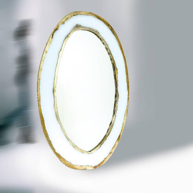Contemporary Life Oval Mirror, Art Glass Silvered, Bronze Silvered Glass Frame, Birch For Sale