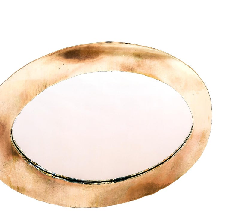 Life Oval Mirror, Art Glass Silvered, Bronze Silvered Glass Frame, Birch For Sale 3