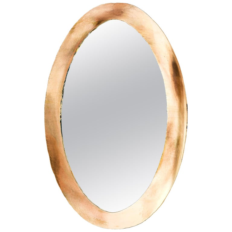 Life Oval Mirror, Art Glass Silvered, Bronze Silvered Glass Frame, Birch For Sale