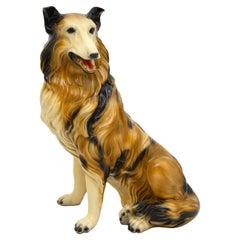 Life Size 1960's Collie Dog Ceramic Sculpture