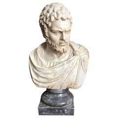 Life-Size 19th Century Carrara Marble Bust of a Roman