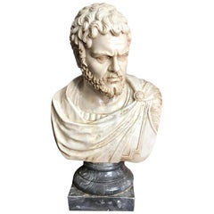 Life-Size 19th Century Carrara Marble Bust of a Roman