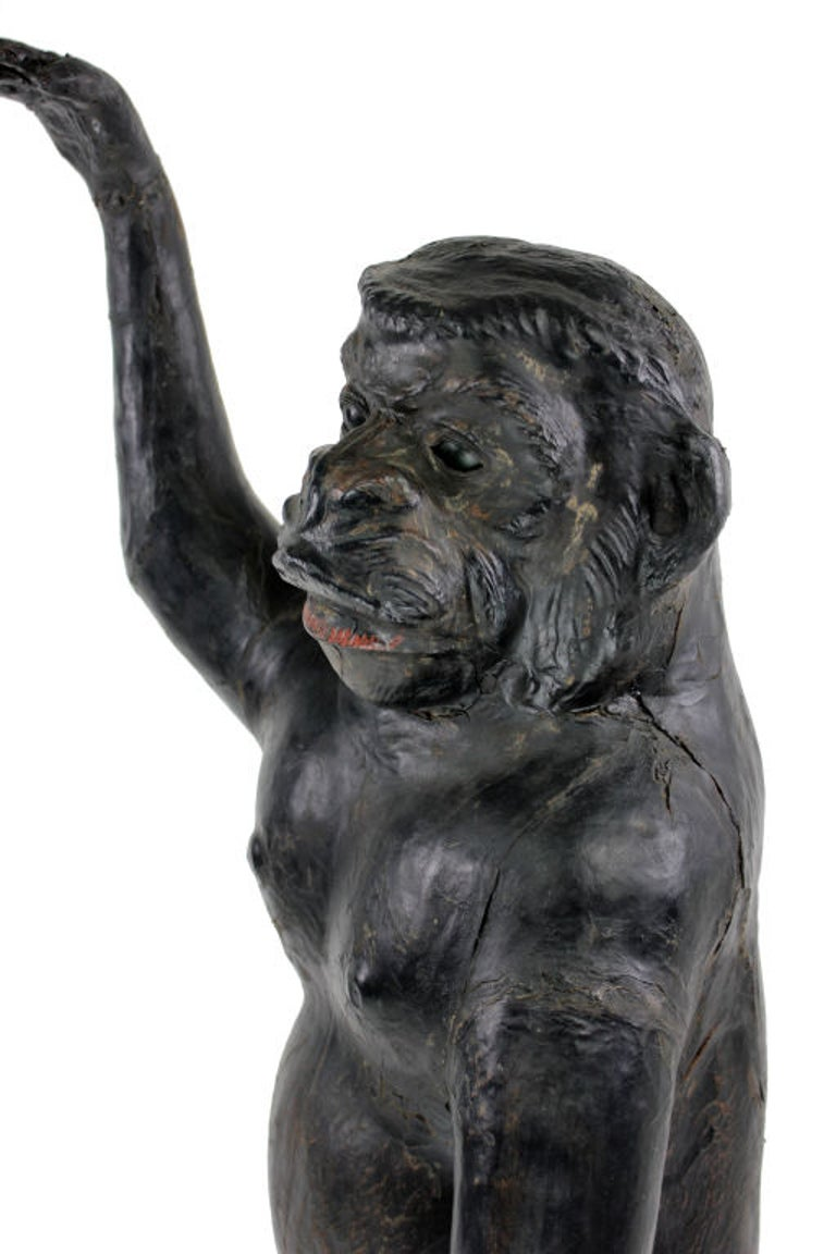 Life-Size 19th Century French Leather Monkey with Green Glass Eyes 2