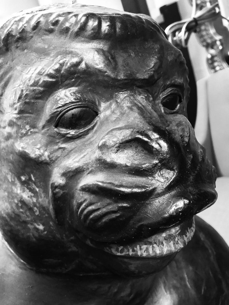 Life-Size 19th Century French Leather Monkey with Green Glass Eyes 3