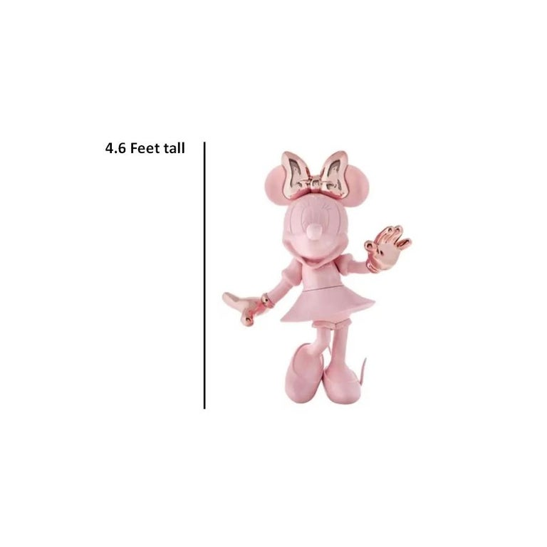 French In Stock in Los Angeles, Life-Size 4.6 Ft Tall Glossy Pink Minnie, Pop Sculpture For Sale