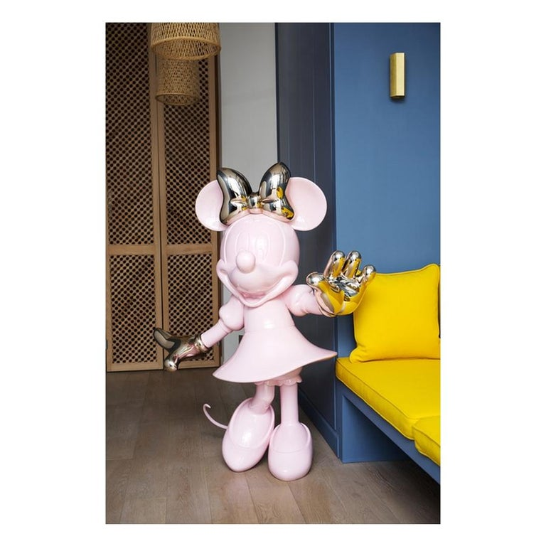 Modern In Stock in Los Angeles, Life-Size 4.6 Ft Tall Glossy Pink Minnie, Pop Sculpture For Sale