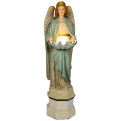 Life-size Angel Statue Holding Porcelain Clam Shell Bowl with Light