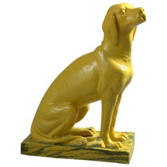 Life-Size Bright Yellow Ceramic Statue of a Pointer Dog