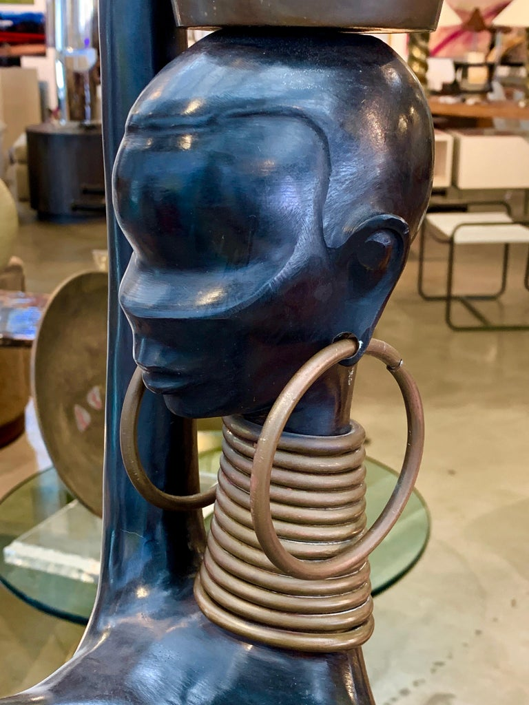 Cast Life Size Bronze African Woman in the Style of Hagenauer For Sale