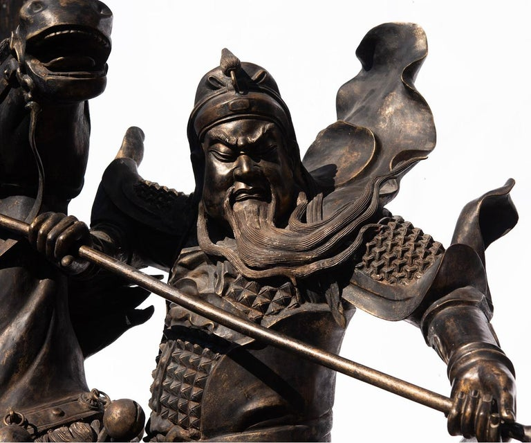 Chinese Export Life-Size Bronze of Chinese General Guandi on Horseback For Sale