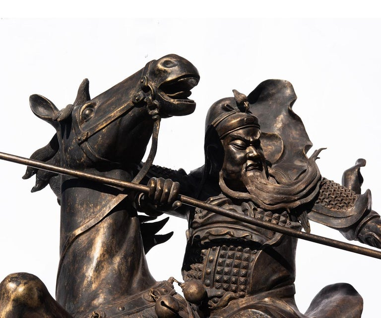 20th Century Life-Size Bronze of Chinese General Guandi on Horseback For Sale