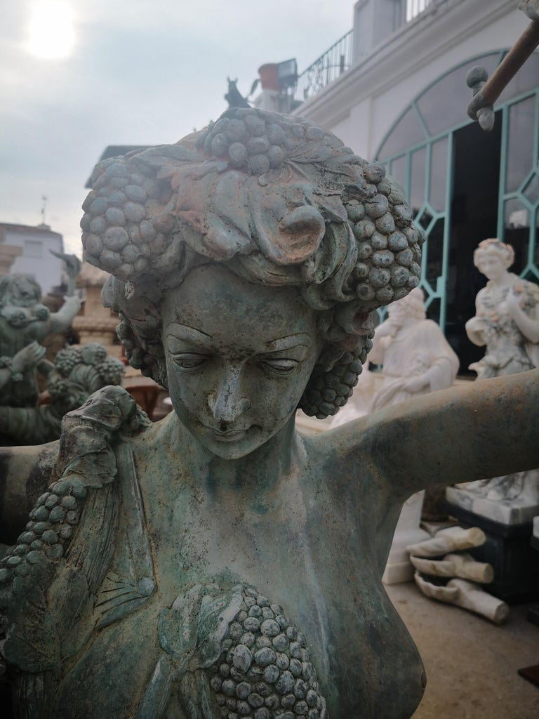 Life-Size Bronze Sculptures of Two Ladies and a Cherub For Sale 7